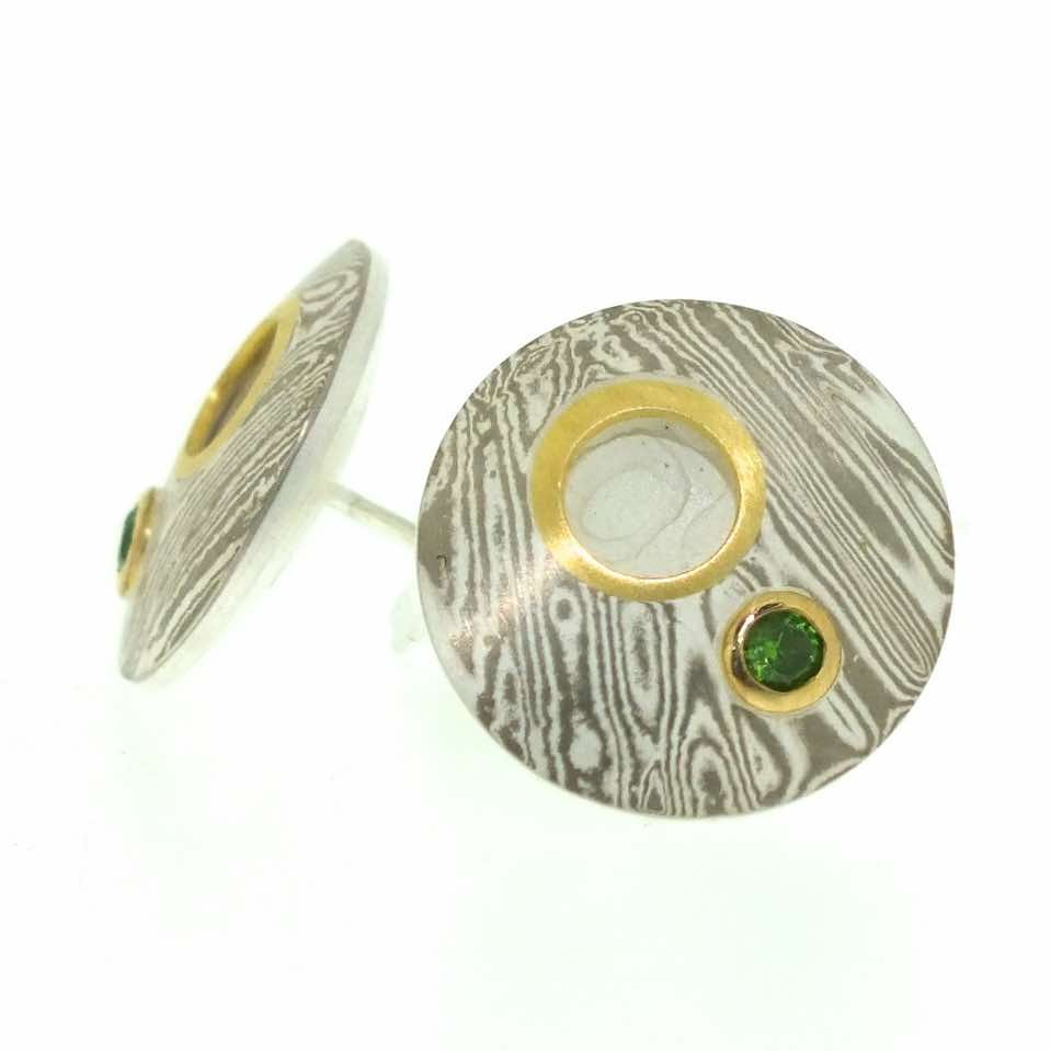 18k White Gold And Silver Mokume Gane Discus Studs (15mmø) With 22k Gold  Cutaway